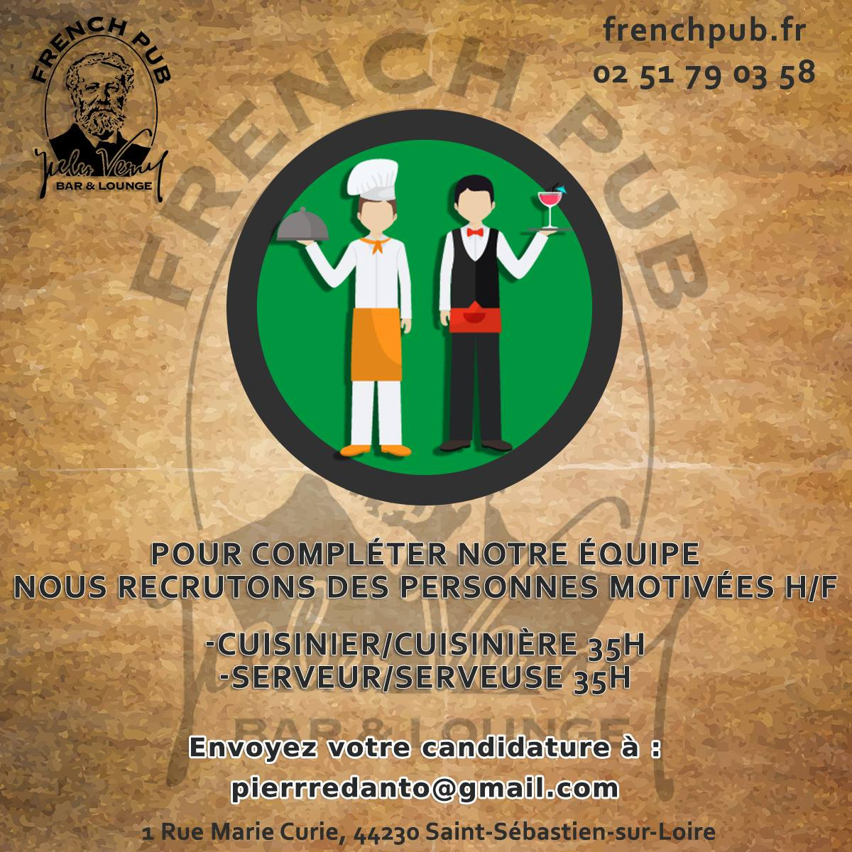 Recrutement : Hôtesse / Hôte d'accueil restaurant (H/F)